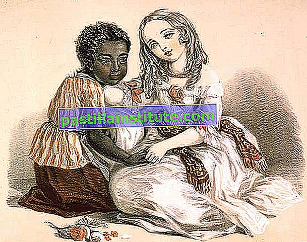 Topsy (à gauche) et Little Eva, personnages de Harriet Beecher Stowe's Uncle Tom's Cabin (1851–852);  lithographie de Louisa Corbaux, 1852.