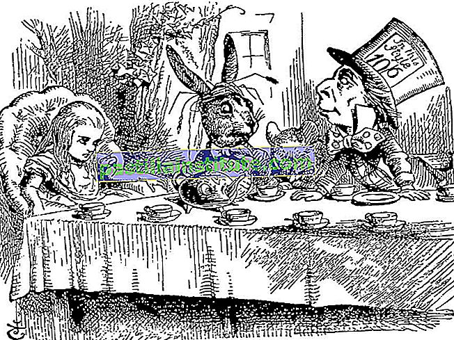 Pesta Teh Mad.  Alice bertemu March Hare dan Mad Hatter di Lewis Carroll's
